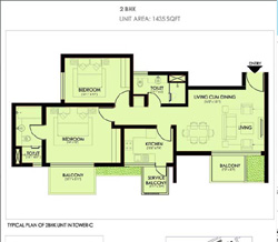 Ireo Victory Valley Floor Plans 2 BHK + 2T | 1435 SQ.FT