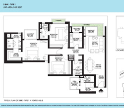 Ireo Victory Valley Floor Plans 3 BHK + SQ | 2452 SQ.FT