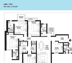 Ireo Victory Valley Floor Plans 4 BHK + SQ | 3192 SQ.FT